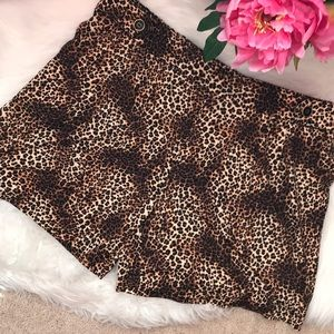 Leopard animal print stretchy vintage style shorts